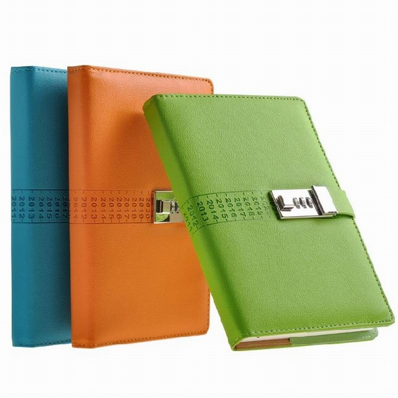 New Vintage Leather Fashion Notebook diary with lock box password notebook notebook paper travel diary free shipping(China (Mainland))