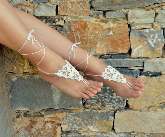 White Crochet Barefoot Sandals,Grecian, Sexy Foot Anklet, Yoga, Foot Thongs, Nude Shoes, Lace Sandals(China (Mainland))
