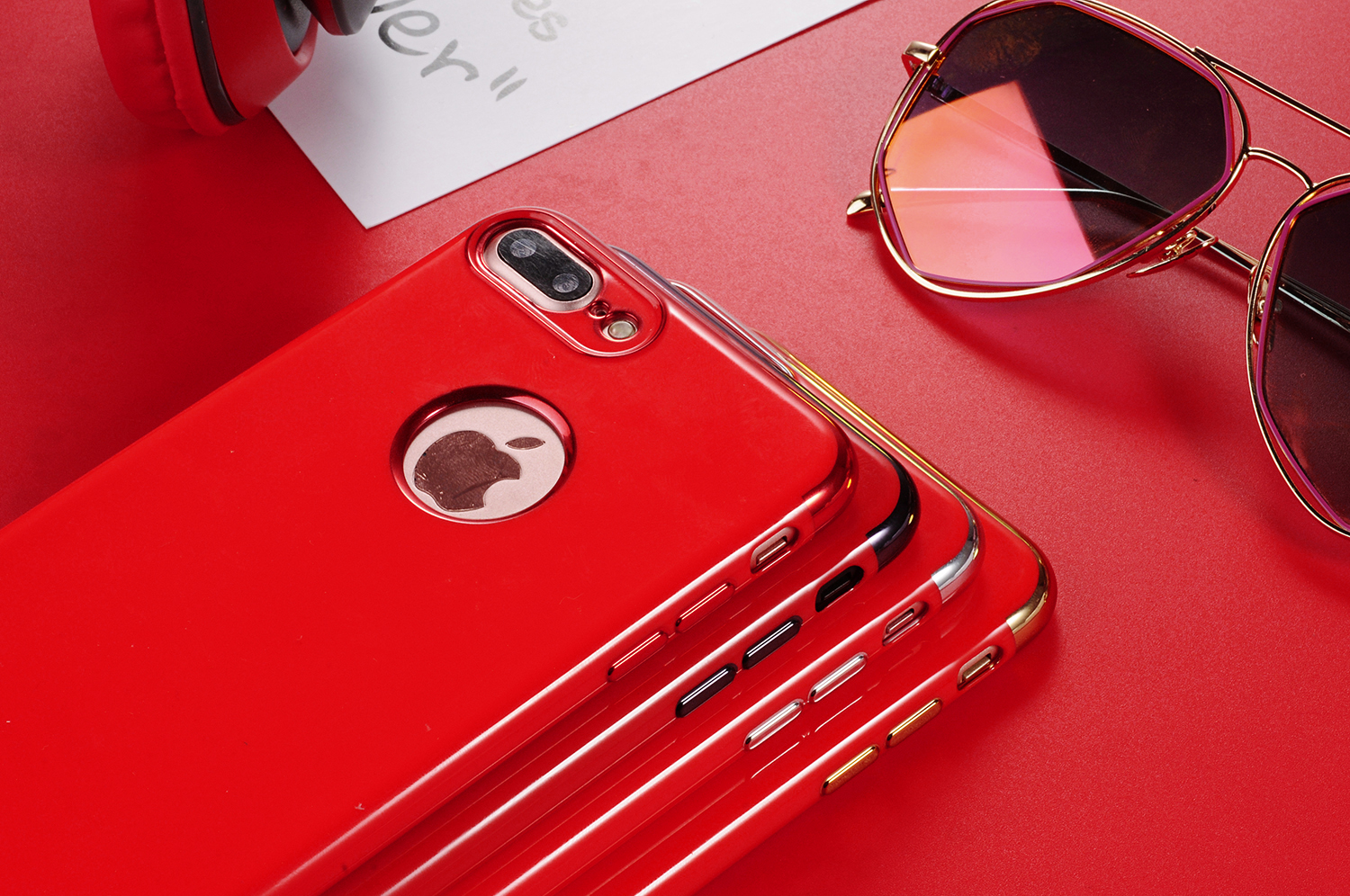 Hot China Red Fitted Case For iPhone 7 iPhone7 Plus Back Cover Eletraplated Fashion Shell Soft Cases High Quality Luxury Brand(China (Mainland))