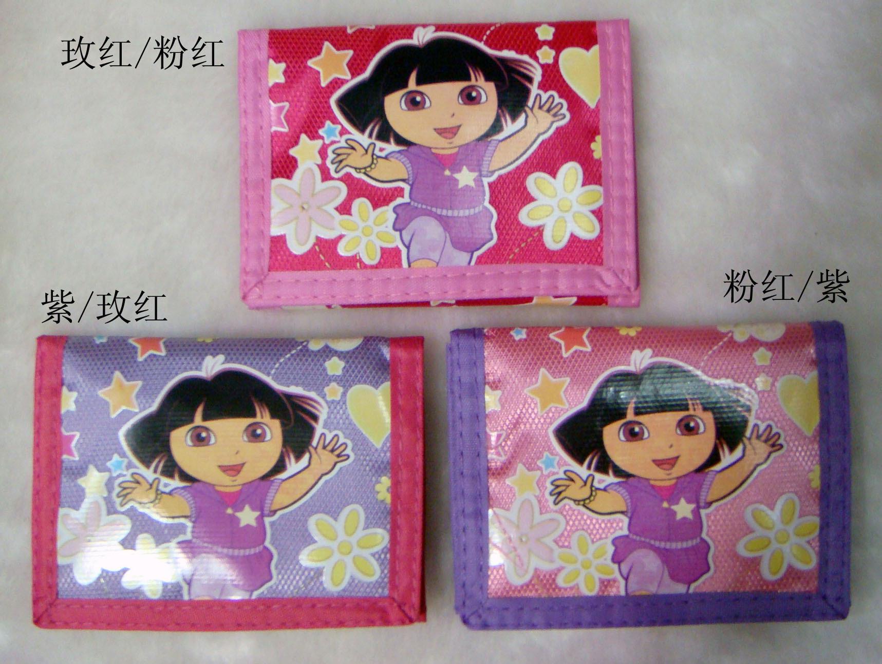 New cartoon three fold wallet coin purse dora bulk of money bag child card holder Support drop shipping(China (Mainland))