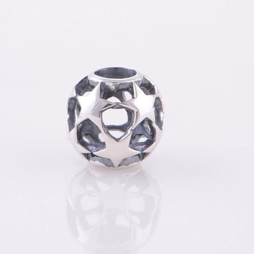 Аутентичные стерлингового серебра 925 бусины европейский шарм выдалбливают звезда шаблон женщины ювелирные изделия DIY подходит Chamilia стиль браслет