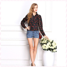 Hot!!!2015 New Fashion Women Shirt Long Sleeve Casual Shirt Hot Lips Painted Lapel Chiffon Shirt Tops