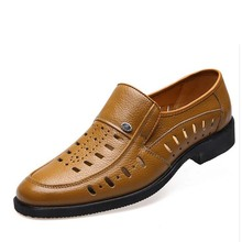 Hot sale men slip on cut outs oxfords genuine leather italian men dress sandals summer flat business shoes plus size 38-45