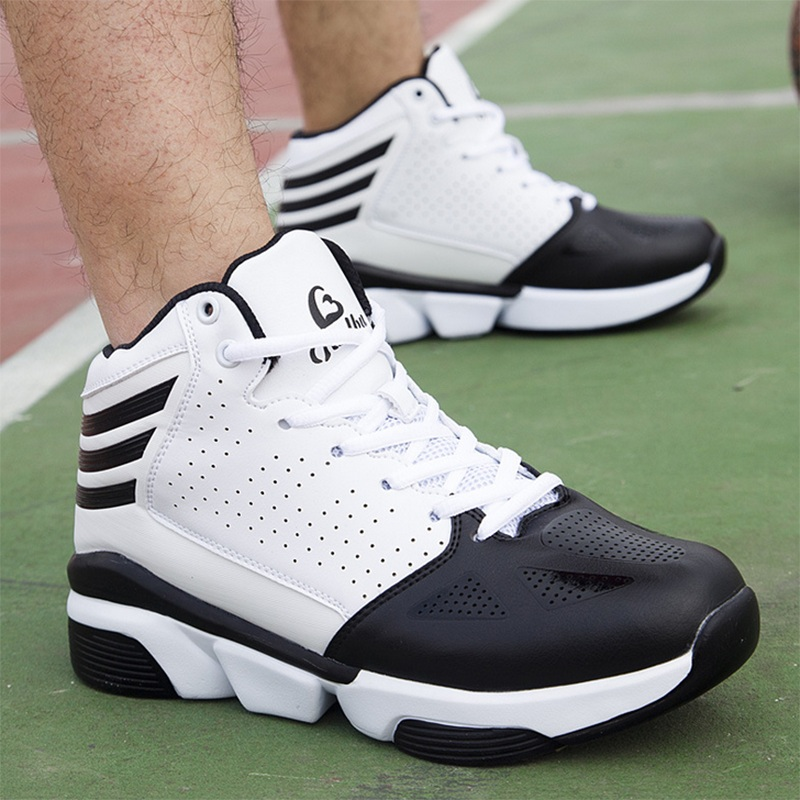 Free Shipping Cheap Black Leather White Bottom Mens Basketball Shoes High Top Shoes 39-45 Winter Outdoor Sports Shoes ShoesA92(China (Mainland))