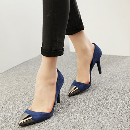 2014 high-heeled shoes shallow mouth pointed toe metal high-heeled shoes ol sexy genuine leather women's shoes thin heels