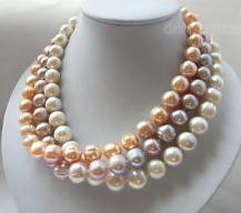 Natural Pearl Jewelry 18 inches 10-13mm White Pink Lavender Color Freshwater Pearl Necklace Handmade Jewelry<br><br>Aliexpress