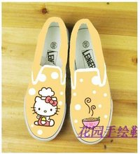 Fashion features Original hand drawing Hello Kitty Canvas shoes Lovers shoes casual shoes,si