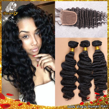 Unprocessed Peruvian Deep Wave With Closure Virgin Human Hair Weave With Closure 3 Hair Bundles With