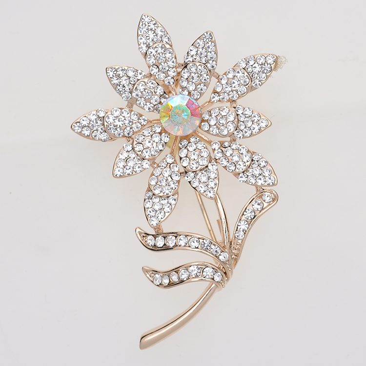 Hot selling!Fashion sunflower design wholesale large rhinestone brooch gold-plated cheap brooches for wedding free shipping(China (Mainland))