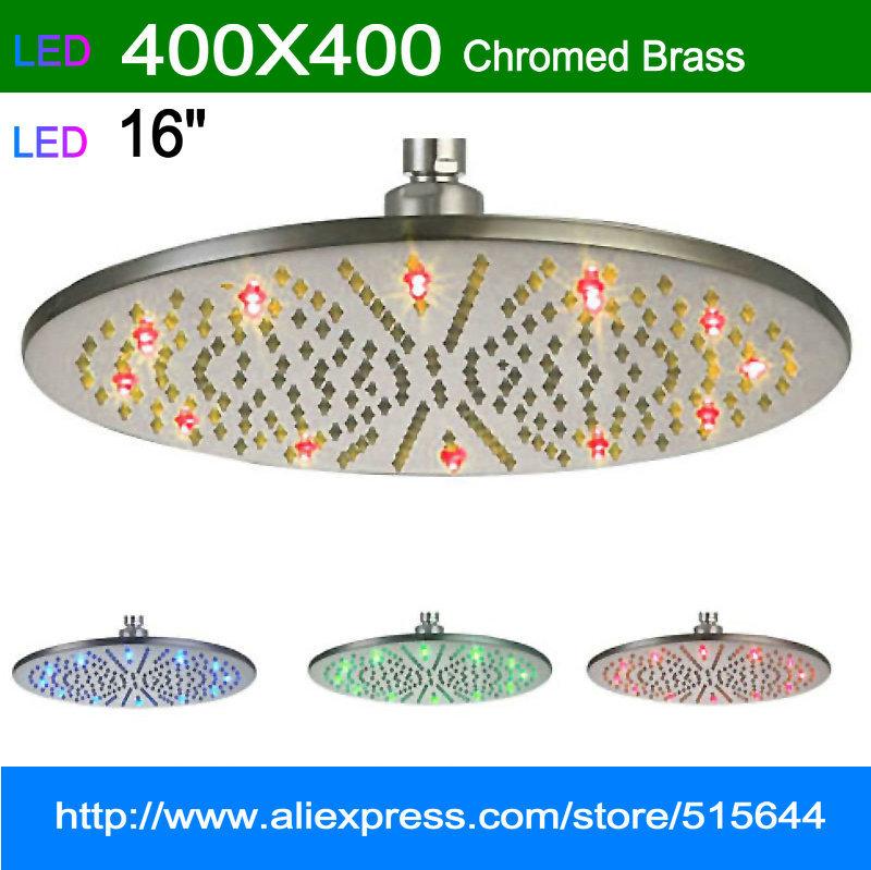 "16"" round big shower head LED RGB lingt brass rainfall for bathroom bath mixer faucet tap Mirror chromed brass(China (Mainland))"