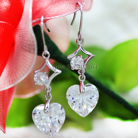 Classic jewerly 18K gold earrings 2015 wedding ethnic heart cubic zirconia women - SunFlower Trade Co.,Ltd store