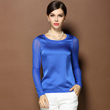 2015 summer women tops T-shirt O-neck long sleeve stretchy sheer plus size M-3XL women basic wear blouse with 8 colors option(China (Mainland))