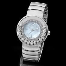 2015 mujeres de cristales preciosos de reloj de acero inoxidable giratoria reloj de cuarzo cristal