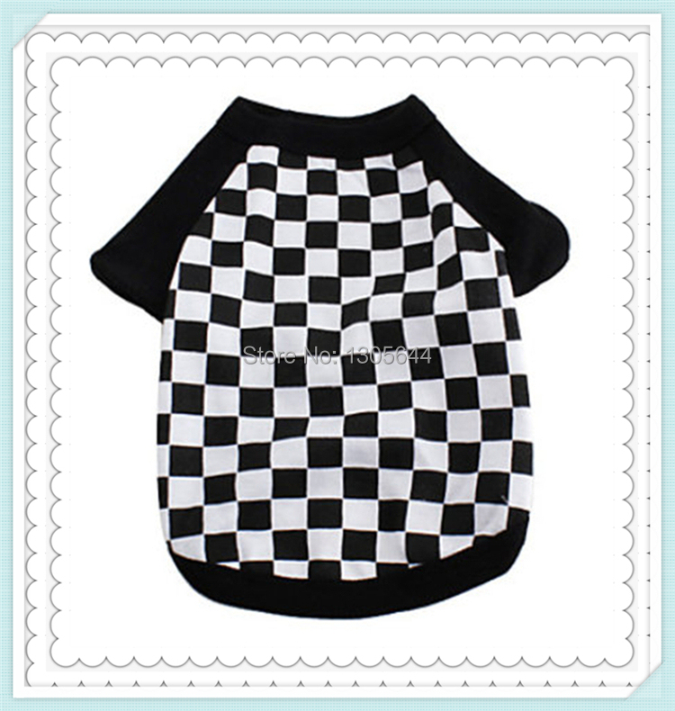 """Fashion and comfortable cotton single jersey print""""checkered""""clothes for dogs,dog clothes,pet clothes,dog T-shirt free shipping(China (Mainland))"""