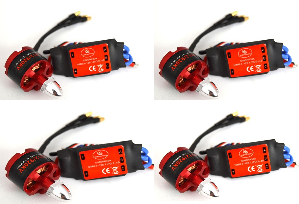 4x 2212 920KV Brushless Motor + 4x 30A SimonK ESC Quad Multirotor X525 F450(China (Mainland))