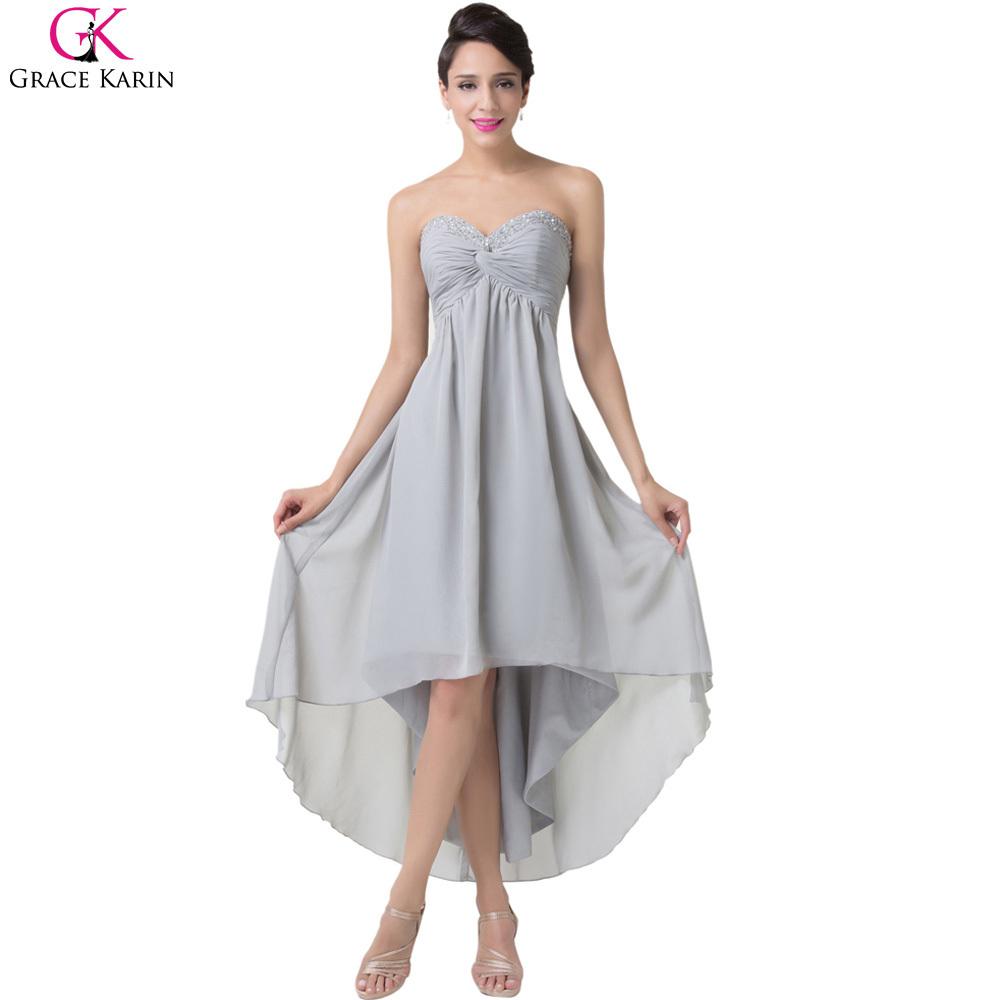 Elegant gray hi low robe grace karin high low prom dresses for Formal dress for wedding