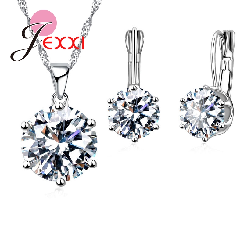 JEXXI Fashion Luxury CZ Jewelry Sets 925 Sterling Silver Earring+Pendant Necklace Set Women Anniversary Gifts(China (Mainland))
