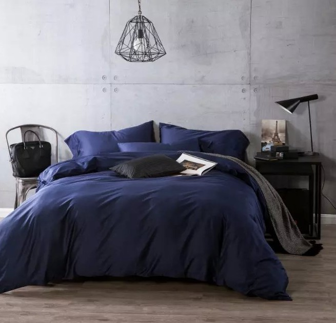 Luxury navy blue egyptian cotton bedding sets sheets bedspreads king size queen quilt duvet cover bed in a bag linen double 4pcs(China (Mainland))
