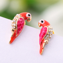 Les Nereides Red Leiothrix Bird Stud Earrings Elegant Fine Cute All-match Valentine's Day Good Gift Lady Party Jewelry(China (Mainland))