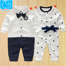 Newborn Baby Boy Rompers 100% Cotton Tie Gentleman Suit Bow Leisure Clothing Toddler Jumpsuit Costume Baby Boys Brand Clothes(China (Mainland))