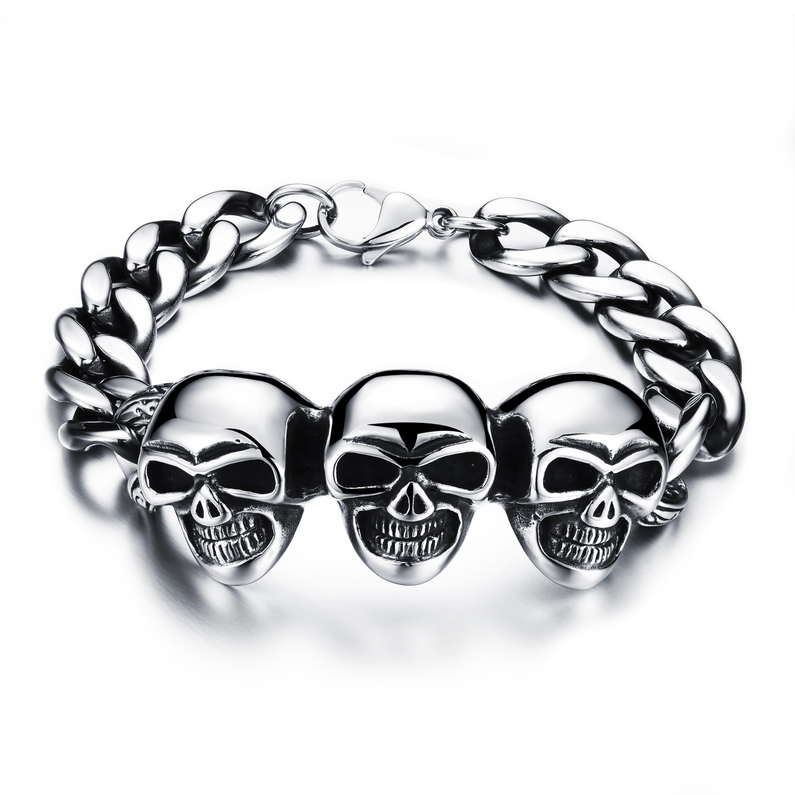 Personality Stainless Steel Skeleton Man Bracelets Punk Style 316L Steel Link Chain Bracelets Antique Men Jewelry(China (Mainland))