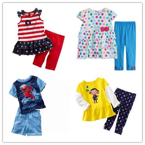 Дети устанавливает Девочек с коротким рукавом комплект одежды мальчики Лето футболка ...