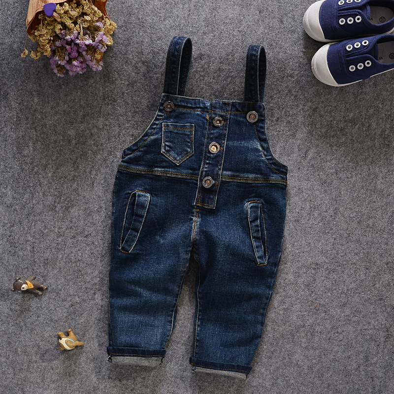 New 2016 Brand Kids Jeans Baby Boys Girls Denim Overalls Suspender Jeans Pants Casual Fashion Children Overall Jeans Retail 1-5T(China (Mainland))