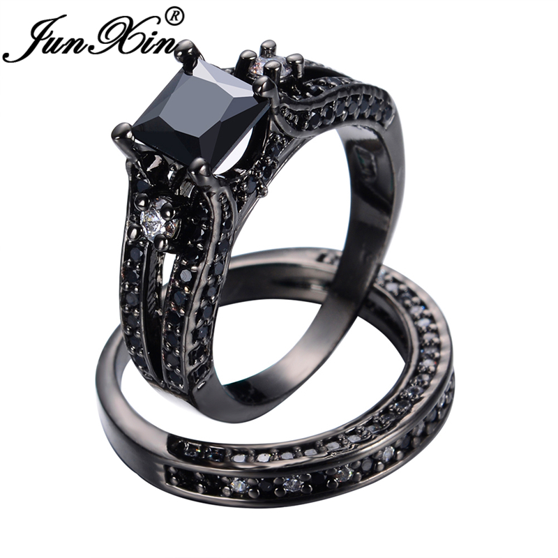 junxin vintage engagement jewelry 2 pcs princess cut 10kt black gold filled black cz stone women men wedding ring sets bijoux - Womens Black Wedding Ring Sets