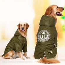 Buy Army green Winter Warm big large Dog Pet Clothes hoodie fleece golden retriever dog cotton Padded jacket coat clothing dog for $14.84 in AliExpress store