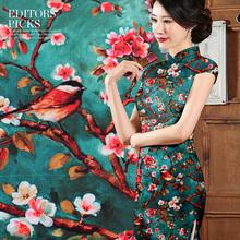 Buy Limited Peach blossom beauty mulberry silk natural stretch satin fabric dress cheongsam tissu au meter bright cloth DIY for $42.33 in AliExpress store