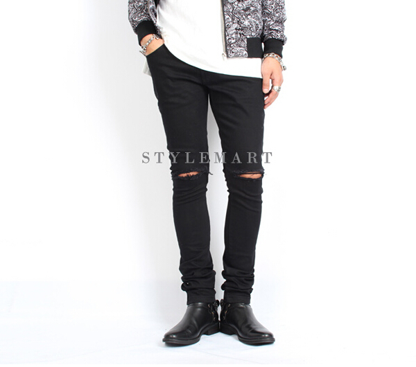 Black knee ripped skinny jeans men – abuv