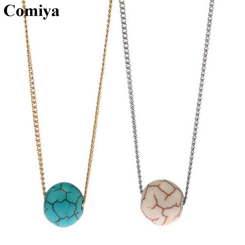 Fashion new link chain round natural stone ball pendant necklaces bijoux en perle colar pingentes prata esterlina lady necklace(China (Mainland))