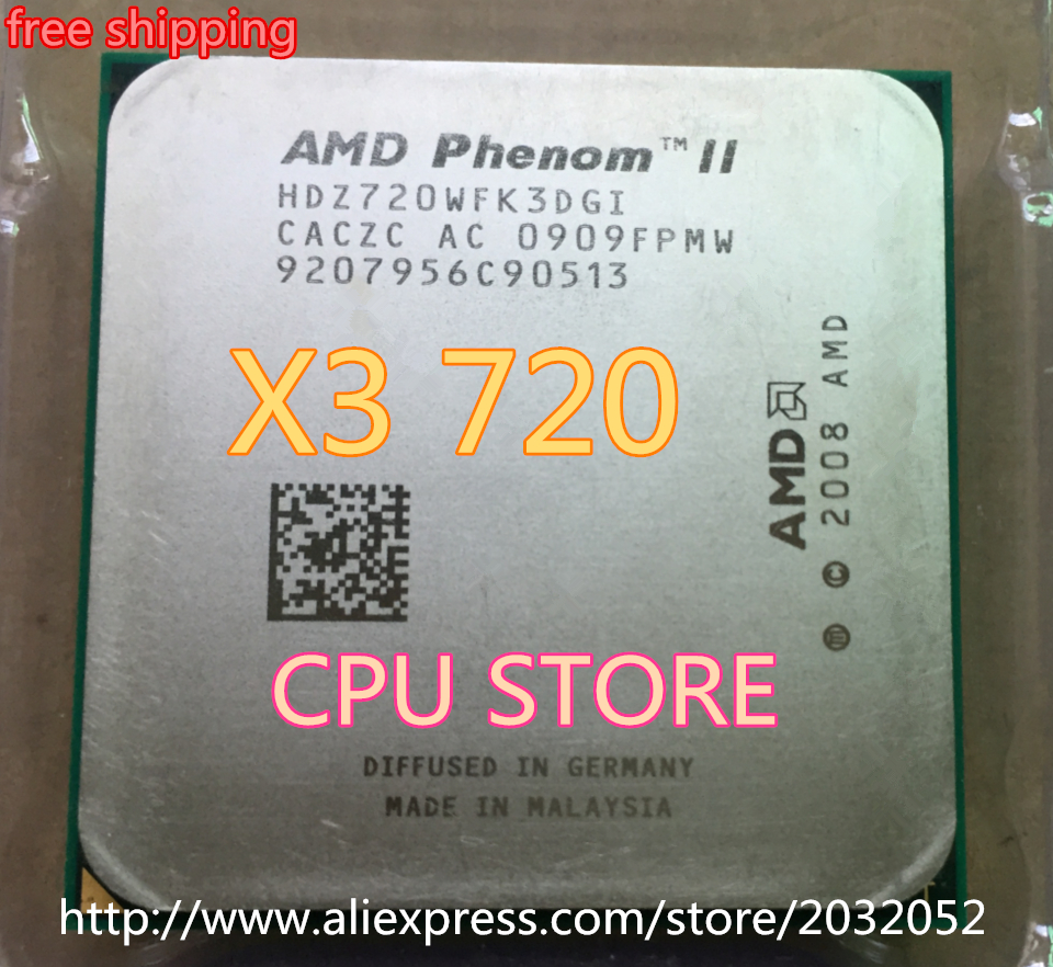 AMD Phenom II X3 720 CPU Processor Triple-Core 2.8Ghz/ 6M /95W / 2000GHz Socket AM3 AM2+ 938 pin (working 100% Free Shipping)(China (Mainland))