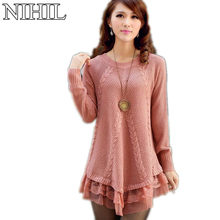 Lace Women Sweater Dress Oversized Long Sleeve Pink Knitted Sweater New Casual Pullovers Ladies Clothing Tops Winter Knitwear(China (Mainland))