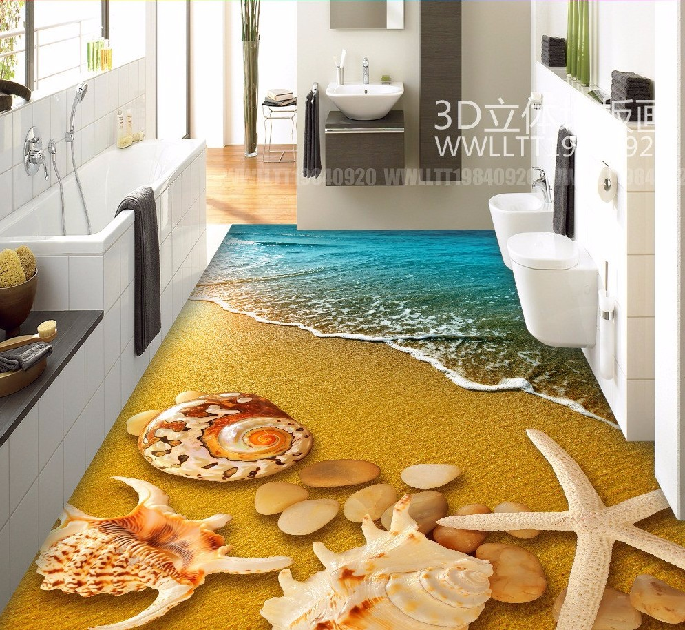 Free Shipping 3D Beach Shell floor painting kitchen living room restaurant  hallway decoration wear PVC floor wallpaper mural - us400