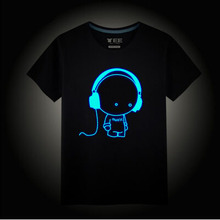 Kids Neon Print T Shirt Summer Style Party Club Cotton Children Kids Neon Print T Shirts Night Light Cartoon Animation T Shirt(China (Mainland))