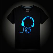 Bambini Neon Stampa Della Maglietta di Stile di Estate Party Club Dei Bambini del Cotone bambini Neon Stampa Magliette Luce di Notte Del Fumetto di Animazione T Shirt(China (Mainland))