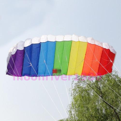 B39Free Shipping Power Dual Line Stunt Parafoil Parachute Rainbow Sports Beach Kite For Beginner(China (Mainland))