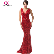 2015 GK women Vestido Longgo De festa Sexy red Mermaid Trumpet Evening Dresses Gold black blue Sequined U Back Long Dress 6052(China (Mainland))