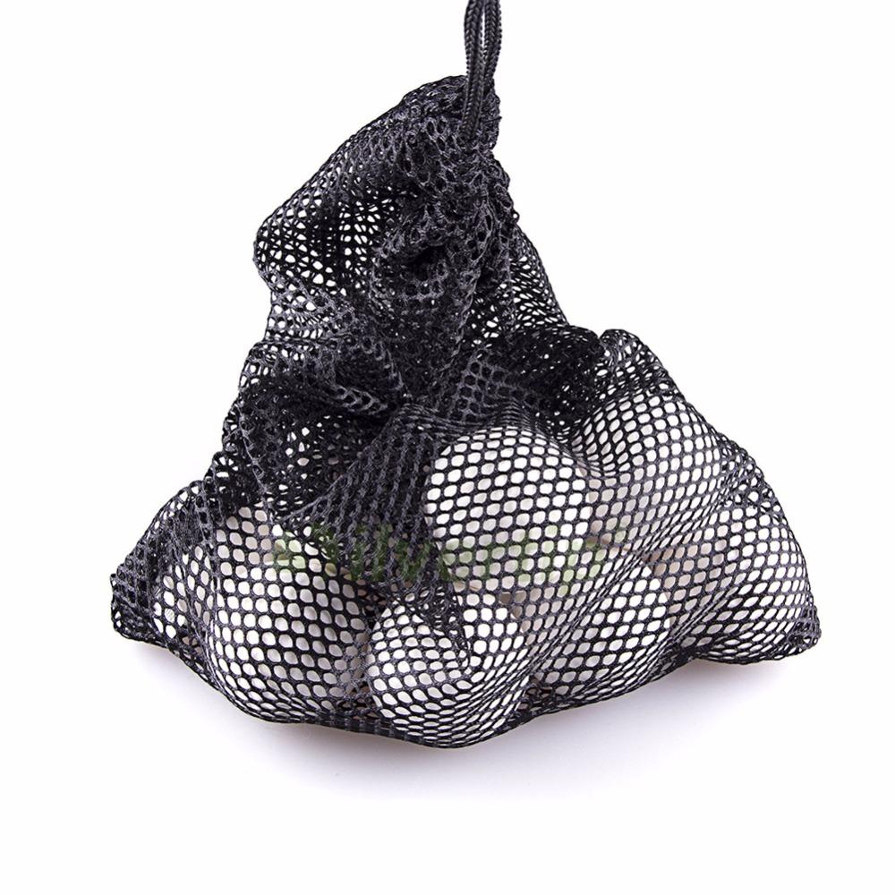 1PC Black Golf Ball Bag Nylon Mesh Nets Bag Pouch Golf Table Tennis 48 Balls Carrying Holder Storage Bag String Closure 30x19cm(China (Mainland))