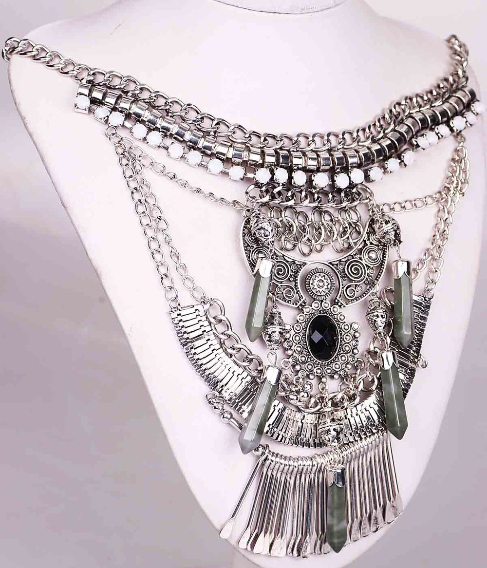 New Fashion Handmade Woman Antique Silver Pendants Bohemia Style Bib Statement Women Choker Brand Necklaces(China (Mainland))
