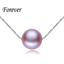 Summer Style Perfect Round Purple Pearl Rope Chain Necklaces & Pendants with 925 sterling silver jewelry for women gift with box