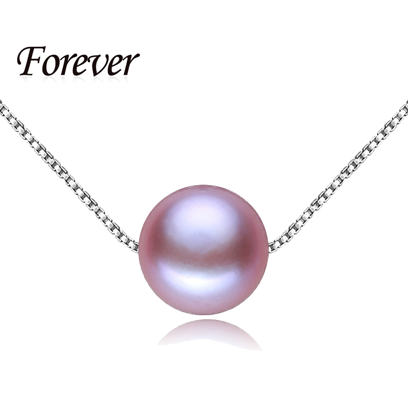 Summer Style Perfect Round Purple Pearl Rope Chain Necklaces & Pendants with 925 sterling silver jewelry for women gift with box(China (Mainland))
