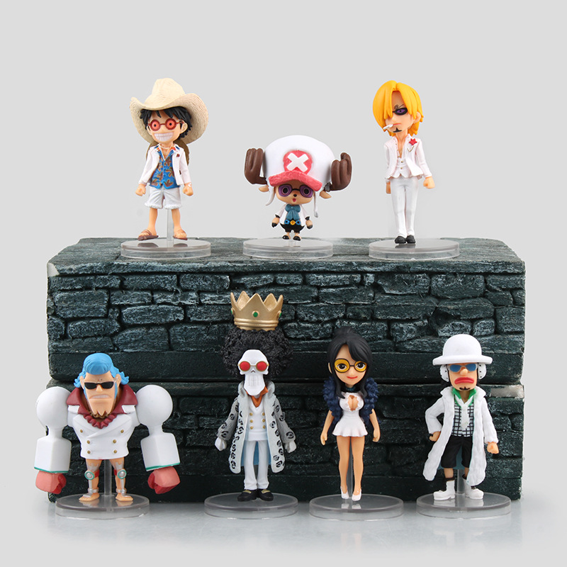 7 Pcs/Set Mini One Piece Figure Anime Luffy WCF Action Figure Classic Collection Model Toys theatre version white pirate 9.5cm(China (Mainland))