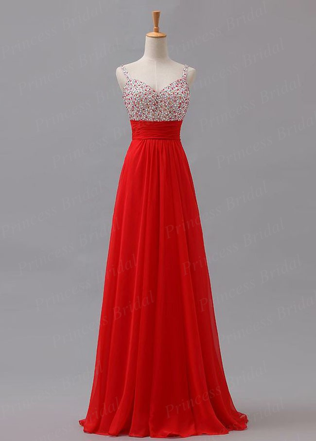 Бесплатная доставка 100% ручной работы платье-линии V шеи красный течет шифона этаж длина настоящее вечернее платье с Beadings MD178