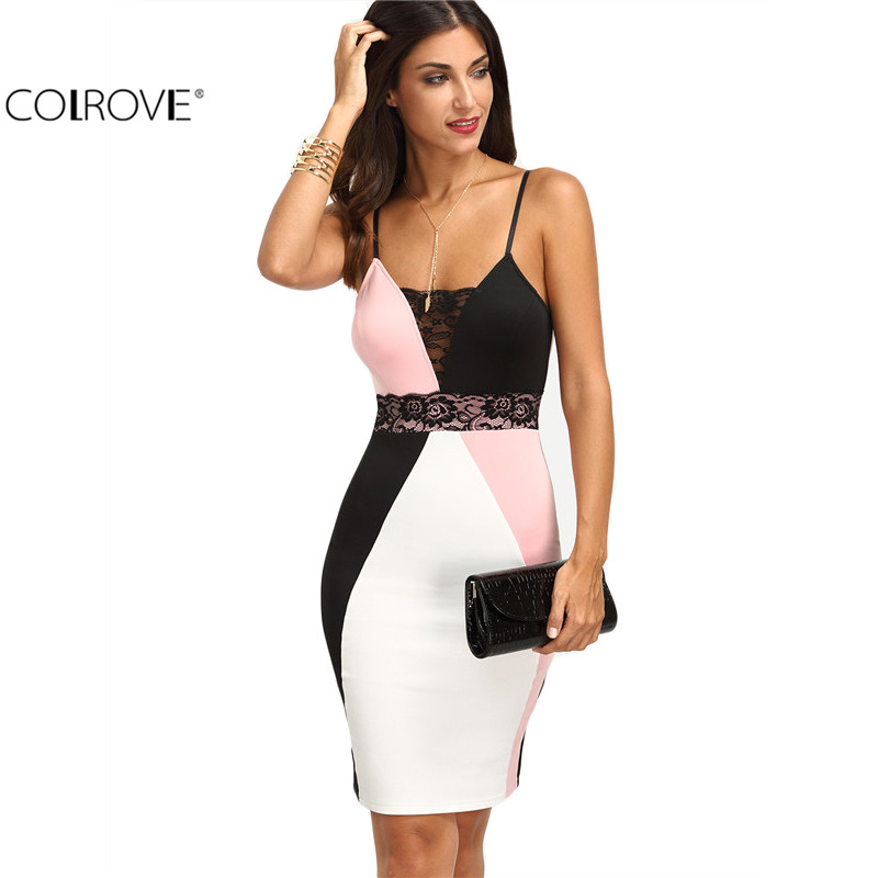 COLROVE Ladies Color Block Multicolor Spaghetti Strap Backless Sleeveless Slim Pencil Knee Length Sexy Dress(China (Mainland))