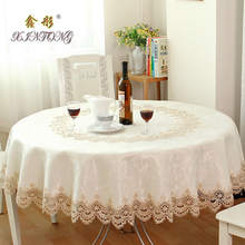 Hot European Garden embroidered Round tablecloth dining table cover for wedding TV cabinet cushion package elegant table cloth(China (Mainland))