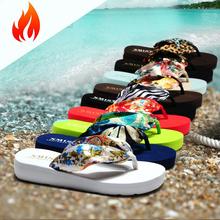 Gitibaba 2016 summer bohemia flower flip flops platform wedges women sandals platform flip slippers beach shoes