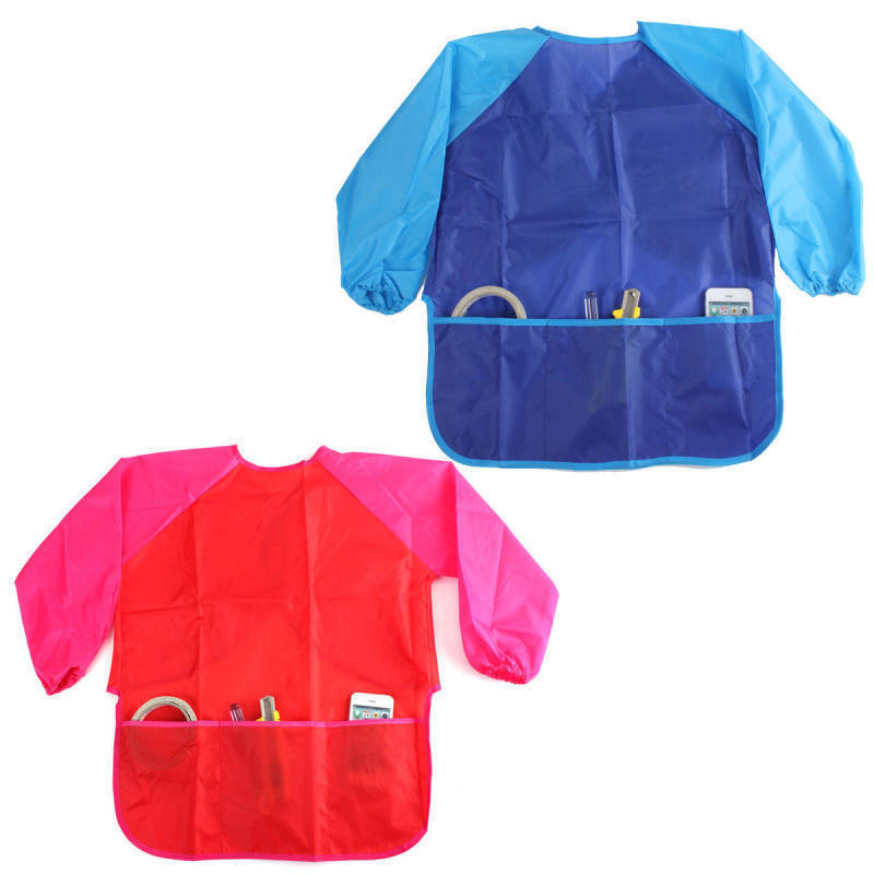 Waterproof Kids Children Painting Drawing Cooking Apron Smock with 3 Pockets(China (Mainland))