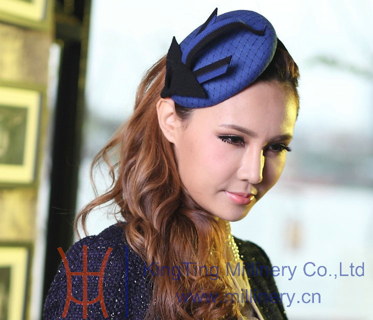 Free Shipping June'syoung Hot Sale Fashion Women Fascinator Blue Delicate Hair Clips Hair Accessory Hair Elegant Fascinator Hat(China (Mainland))